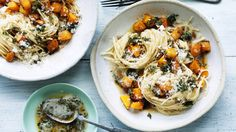 Spaghetti with pumpkin, thyme and brown butter recipe