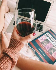 Study & Syrah Saturday Nights || National Drink Wine Day #medicalschool #studyspace