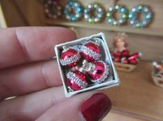 4 Christmas  Ornaments 1inch Scale in vintage Box