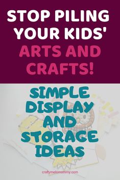 Easily display and store your kids' artwork. Fun ideas to display your kids' artwork and ways to organize and store your kids' artwork and crafts. Kids Craft Supplies, Craft Projects For Kids, Paper Crafts For Kids, Easy Crafts For Kids, Fun Crafts, Art For Kids, Displaying Kids Artwork, Easy Fall Crafts, Photo Books