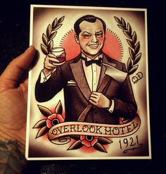 Steven King inspired tattoos. Old school inspiration with this The Shining tattoo flash by Quyen! Too cool.