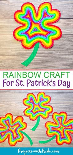 Brighten up your day with this easy rainbow shamrock craft using oil pastels. A great St. Clay Crafts For Kids, St Patrick's Day Crafts, Craft Projects For Kids, Craft Activities For Kids, Holiday Crafts, Spring Activities, Painting For Kids, Art For Kids, Shamrock Template
