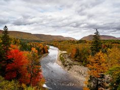 Fall colours of the Margaree Valley in the Cape Breton Highlands of Nova Scotia [OC][1920x1440]