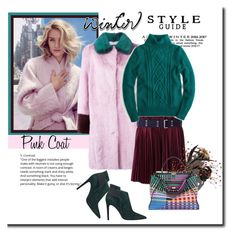 """""""Pretty Winter: Pink Coat"""" by elena-viola-1 ❤ liked on Polyvore featuring Liska, Sacai, J.Crew, Fendi and GUESS"""