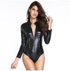 54d517424c5 Women s Punk Faux Leather Zipper Slim Romper Leather Bodysuit