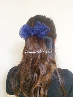 ネイビー♥︎ワイヤーリボンバレッタ♥︎ハンドメイドヘアアクセサリー ¥500- Handmade hair accessory!DIY!! Navy ribbon barrette!!