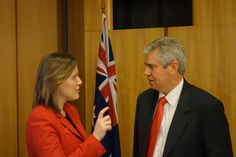 Ray Ellis at Parliament House, Canberra with Kelly O'Dwyer.