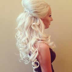 Platinum blonde half up prom hair