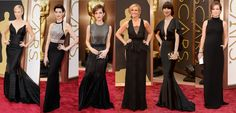 BACK TO BLACK El negro es un color infalible cuando se trata de vestidos de alta costura, es por eso que la mayoría de las celebridades lo escogieron para la 86ª entrega de los Óscares. De izq. a der. : Charlize Theron, Anne Hathaway, Emma Watson, Julia Roberts, Karen O, Olivia Wilde.