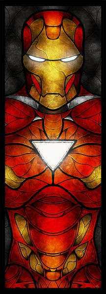 The Iron Man Art Print .. these all look like stained glass, awesome.