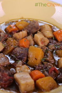 Slow Cooked Beef & Vegetable Stew by Michael Symon - on a cold and blustery day, there's nothing like dishing up a bowl of this stew of beef and root vegetables that'll warm you to the core.
