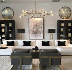 Making Your Living Room Look and Feel More Luxurious - Jessi.-Making Your Living Room Look and Feel More Luxurious – Jessica Elizabeth Make your living room look and feel more luxurious with these key design principles and ideas to consider - Black And Gold Living Room, Living Room Modern, Living Room Interior, Home Living Room, Home Interior Design, Living Room Designs, Living Room Ceiling Ideas, Luxury Living Rooms, Interior Livingroom