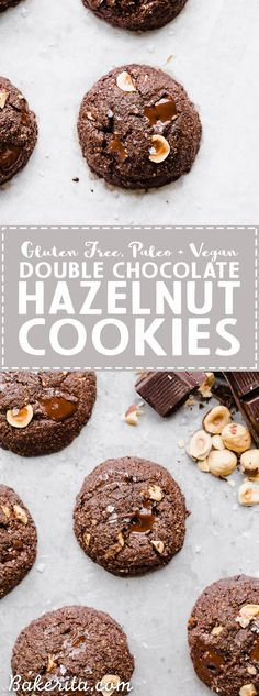 These Double Chocolate Hazelnut Cookies are soft, fudgy, and incredibly chocolatey! These irresistible cookies are loaded with melty dark chocolate chunks and crunchy hazelnuts, and you'd never guess they're gluten-free, paleo, and vegan.