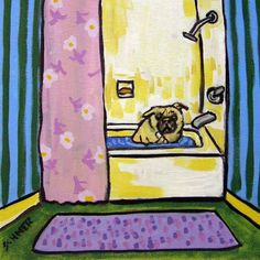 Bathing pug picture whimsy animal ceramic pug art tile