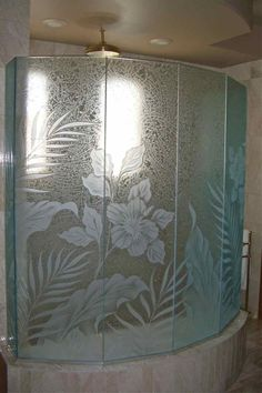Decorative Glass Panels | Decorative etched glass shower enclosure panels, etched and carved ...