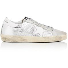 Golden Goose Women's Women's Superstar Suede & Leather Sneakers ($480) ❤ liked on Polyvore featuring shoes, sneakers, perforated sneakers, wedge heel sneakers, wedge shoes, metallic sneakers and suede wedge sneakers