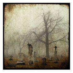 Fog Cemetery  Gothic Art  Foggy Goth Print Graveyard by gothicrow, $16.00