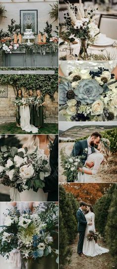 Top 12 Wedding Color Palettes to Warm Your Winter Day--sage green and navy blue, woodland vintage weddings, fall weddings wedding palette Top 11 Winter Wedding Color Palettes Navy Wedding Colors, Winter Wedding Colors, Fall Wedding Flowers, Wedding Color Schemes, Wedding Summer, Wedding Color Palettes, Autumn Wedding, Green Fall Weddings, Sage Green Wedding