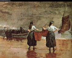 Fisher Girls on the Beach, Cullercoats by Winslow Homer 1881 Winslow Homer Paintings, Seaside Art, Beach Posters, Van Gogh Museum, Seascape Paintings, Oil Paintings, Vincent Van Gogh, Tag Art, American Artists