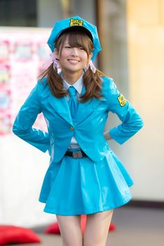 Pvc Skirt, Vinyl Skirting, Sailor Moon Cosplay, Work Uniforms, Japanese Girl, Leather Fashion, Blue Dresses, Cool Girl, Womens Fashion