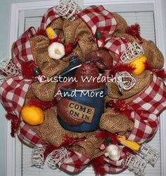 """Awesome Crawfish Wreath made to order just in time for the Crawfish festival in Breaux Bridge, Louisiana. Burlap, gingham ribbon, mesh, netting, corn on the cob, Tabasco, Swamp wreath, alligator wreath, crawfish wreath, lobster wreath, Louisiana wreath, Cajun wreath, crawfish boil decor, Louisiana decor, mothers day wreath, country wreath. etc made in a 24"""" wire form, NO HOT GLUE ALL WIRED IN!  2nd Picture is AVAILABLE at Prejean's Restaurant ONLY"""