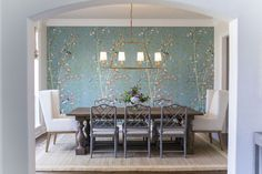 6 of the Most Sophisticated Dining Room Makeovers We've Ever Seen Dining Room Wallpaper, Of Wallpaper, Lantern Light Fixture, Antique Light Fixtures, Victorian Kitchen, Dining Room Lighting, Dining Rooms, Amazing Spaces, Traditional Furniture
