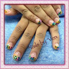 (Yen).  Tie- dye French nails with leopard hand painted design. #pinyen34 #yen