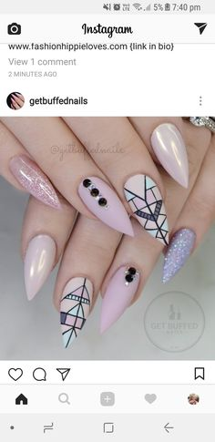 28 Trending Nails That Will Blow Your Mind in 2020 Classy Nails, Stylish Nails, Fancy Nails, Love Nails, Pink Nails, Pretty Nails, My Nails, Tribal Nails, Modern Nails