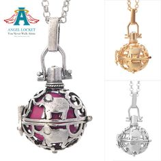The silver option is the antique silver pictured. The shiny silver is not available at this time. Angel Lockets are interchangeable necklaces that having chiming bells that go inside. It is a constant