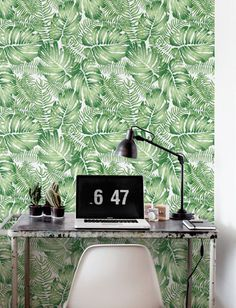 Watercolor Monstera leaves Wallpaper Removable от Jumanjii на Etsy
