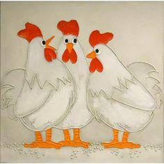 Schilderij drie kippen acryl 60x60cm