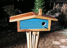 $140 This birdhouse is the third generation design of this shape that was inspired by a Cliff Mays style California Ranch House. I no longer make