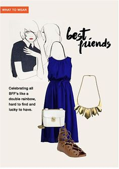 Best Friends - Buy Blue Dresses with Gold Necklaces Scrapbook Look by Sumitra Gurjar