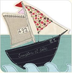 Boat Journal - who boarded and where we went. Freehand Machine Embroidery, Sewing Machine Embroidery, Free Motion Embroidery, Embroidery Applique, Embroidery Stitches, Fabric Cards, Fabric Postcards, Sewing Appliques, Applique Patterns