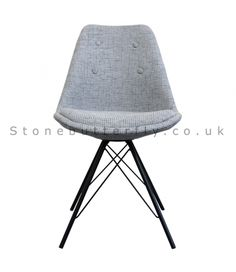 Charles Ray Eames Inspired I-DSR Side Chair Black Metal Legs - Grey Fabric