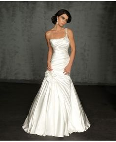 Flower Embellished Satin One Shoulder Wedding Dress #dress #weddingdress
