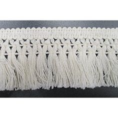 FQTANJU 5 Yards X 2 cm Wide Cotton Tassel Fringe in White