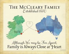 Long Distance Gift for Family, Personalized Present for Mom and Dad, Moving Away Gift, Family Quote, Ireland Map Art, Australia Map Print by KeepsakeMaps on Etsy https://www.etsy.com/listing/206424385/long-distance-gift-for-family