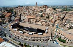 Aerial view of Macerata and Sferisterio Theatre, Marche, Italy.