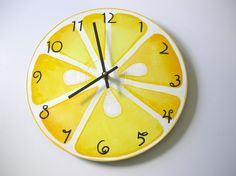 Hand painted lemon slice recycled wall clock - by Bearly Art - Westfield, Ma (sect. k)