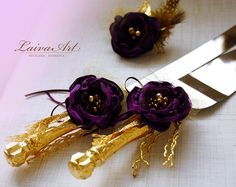 Cake Server Set & Knife Purple and Gold Cake Cutting Set Wedding Cake Knife Set Wedding Cake Servers Wedding Cake Cutter Cake Decoration - pinned by pin4etsy.com