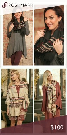 $29 - Aztec Fringe Blanket Scarf * NEXT WEEK Cozy Aztec Fringe Blanket Scarf in black can be worn multiple ways as demonstrated in picture #2.   Price drops to ($29 firm) once arrives on Monday.   Comment for preorder reservations or like for notification of arrival. Infinity Raine Accessories Scarves & Wraps