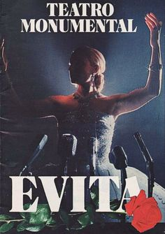 """Madrid, España premiere of """"Evita"""" at the Teatro Monumental, which is located at Calle de Atocha, 65 ... December 23, 1980 - August 23, 1982 ... Scenic Design and Costume Design by Timothy O'Brien and Tazeena Firth ... Directed by Jaime Azpilicueta ... Music by Andrew Lloyd Webber ... Original Lyrics by Tim Rice ... Lyrics were translated to Spanish by Director, Jaime Azpilicueta ... The production starred Paxti Andión, Paloma San Basilio, Julio Catania, Montserrat Vega, and Tony Landa."""