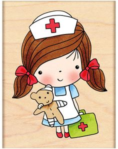 Penny Black First Aid Mimi - Rubber Stamp. A Penny Black wood mounted rubber stamp featuring Mimi as a nurse. Nurse Art, Penny Black Stamps, Cute Clipart, Get Well Cards, Illustrations, Cute Illustration, Cartoon Drawings, Cute Cartoon, Art Images
