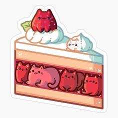 Anime Stickers, Kawaii Stickers, Cat Stickers, Cute Food Drawings, Cute Animal Drawings Kawaii, Arte Do Kawaii, Kawaii Art, Japon Illustration, Cute Illustration