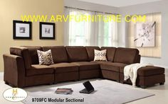 The price is for Sectional with Ottoman.  The Burke Modular Collection.  The clean design of this collection allows for placement in number of living room desings.  Offered in dark brown 100% polyester and features a coordinating ottoman and toss pillows.  Also available in brown beige chenille.  Dimension (LxWxH) Armless chair: 30 x 37 x 36, Corner: 37 x 37 x 36, Ottoman: 37 x 37 x 19.  Price $1599