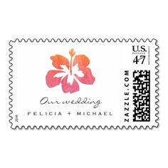 Hawaiian Watercolor Hibiscus Flower Wedding Stamps SAVE $5.00 on all wedding stamps now Use code: SAVEONSTAMPS