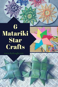 6 Matariki Star Crafts - diy Thought Diy Arts And Crafts, Fun Crafts, Paper Crafts, Winter Crafts For Kids, Art For Kids, Stars Craft, Star Art, Pattern Drawing, Recycled Crafts