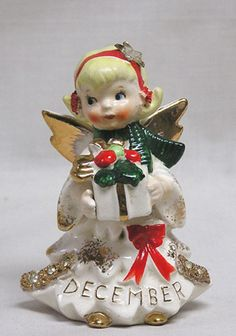 Vintage LEFTON Christmas December Angel w Rhines Gold Gifts WOW! 1950s   eBay