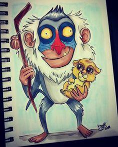 Día 10: El rey león / Day 10: the lion king #elreyleon #thelionking #disney #rafiki #copics #copicmarkers #doodletimewithkaroline #simba